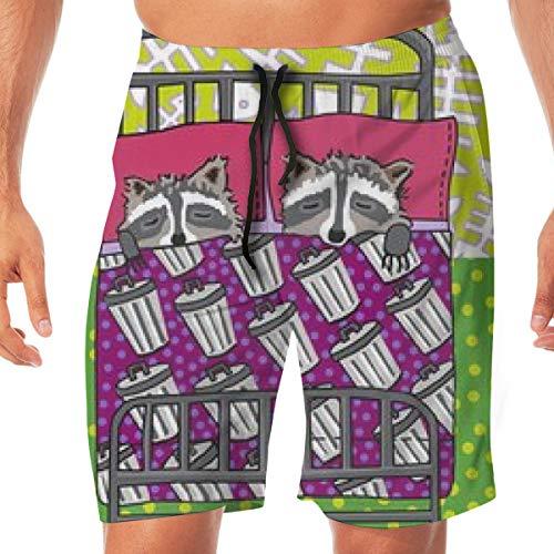 Pantaloncini da Uomo Quilt Block 3 di 4 Dream Raccoon_2630 Tronchi da Bagno Surf Beach Holiday Party Pantaloncini da Spiaggia Pantalone da Spiaggia M