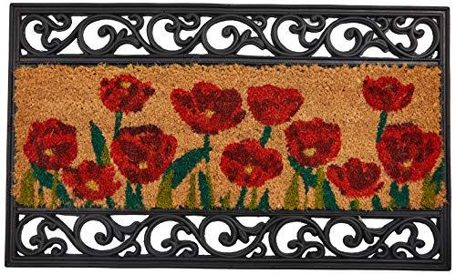 William Armes - Zerbino in fibra di cocco con bordi ad effetto ferro battuto, Poppy Design motivo:...