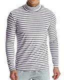 MODCHOK Homme T-Shirt à Manches Longues Top Tee Pull Col Roulé Haut Slim Fit - Gris et Blanc - Taille XXL