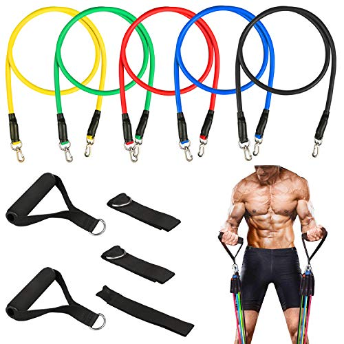 Homga Fitness Bands, 5pcs Resistance Bands Stackable Bands Fitness Set, Elastic Fitness Band Bands for Resistance Training, Home Workouts, Yoga and Pilates