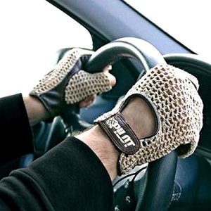 Autofahrer Handschuhe KFZ Auto Fahrerhandschuhe Retro Vintage Lammleder Leder Braun Gr. XL 16