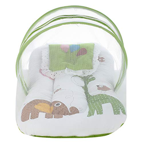 Superminis Multicolor Digital Print On White Base Design Bedding Set Thick Base, Foldable Mattress, Colorful Pillow and Both Side Zip Closure Mosquito Net (0-12 Months, Green)