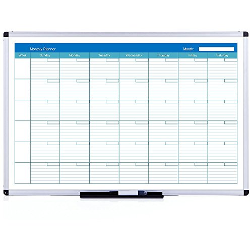 VIZ-PRO Lavagna Magnetica, Calendario mensile, cornice in alluminio, 90 x 60 cm