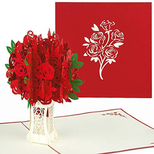PaperCrush® Pop-Up Karte Rote Rosen - 3D Blumen Geburtstagskarte mit Rosenstrauß, Romantische Glückwunschkarte für Frau, Freundin (z.B. Geburtstag, Jahrestag, Hochzeitstag Karte)