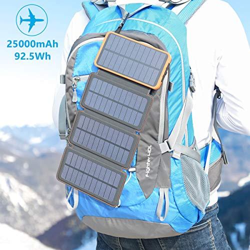 Hiluckey Chargeur Solaire 25000mAh Portable Power Bank avec Deux 2.1A Ports Imperméable Power Bank avec Lampe LED Batterie Externe pour iPho... 28