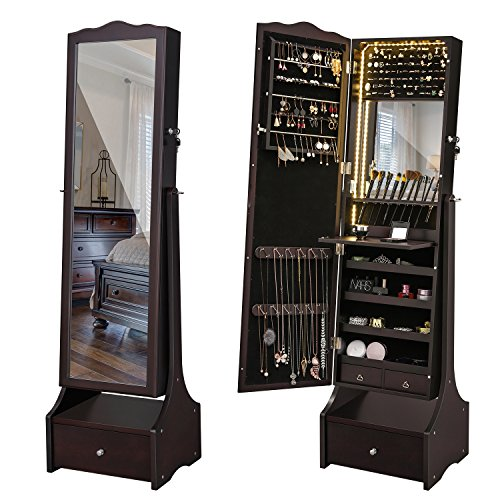SONGMICS Schmuckschrank mit LED Beleuchtung, abschließbarer Spiegelschrank, mit Innenspiegel und klappbarer Innenablage für Make-up, braun JBC87BR - 2