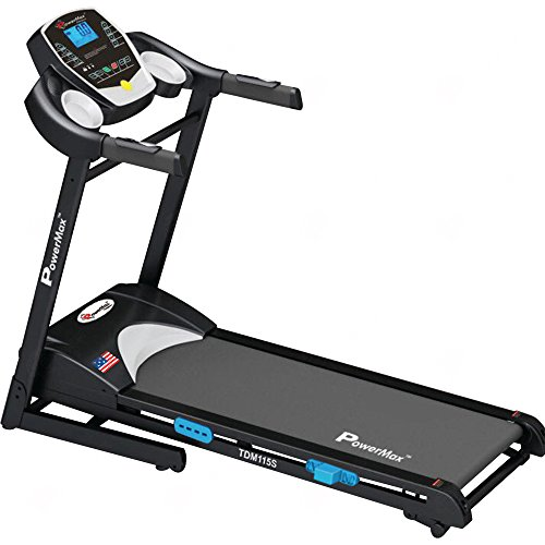 Powermax Fitness TDM-115S (2.0 HP), Semi-Auto Lubrication, Motorized Treadmill for Home Fitness with BMI