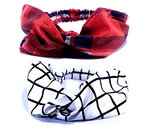 Tarbiya Kraft Combo Printed Designer Fabric Elastic Cross-Knot Wide Headwrap Turban Hair Headband Accessories for Women's and Girl's, Pack of 2 (Multi)