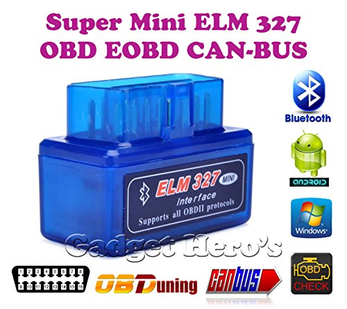 Gadget Hero's Torque Supermini ELM 327 v2.1 Bluetooth EOBD 2 CAN-Bus OBD2 CAR Reader Scanner