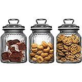 Get Goods Juego de 3-990ML Nuevo Adornado Cristal Estriado té café y azúcar para Galletas tarros de Cristal