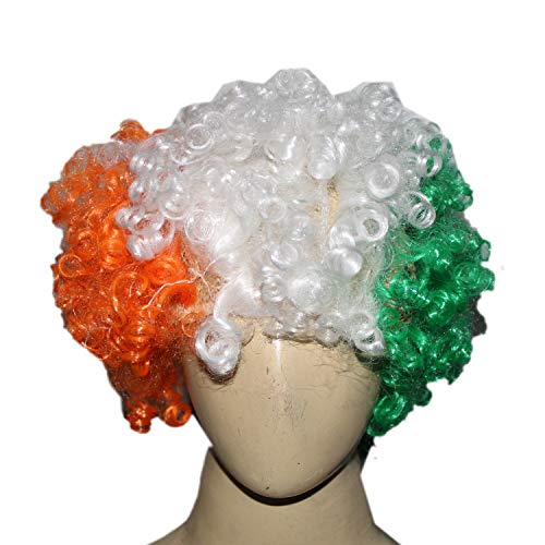 Kaku Fancy Dresses Tri Color Wig for Independence Day/Republic Day -Multicolor, Free Size, for Boys & Girls
