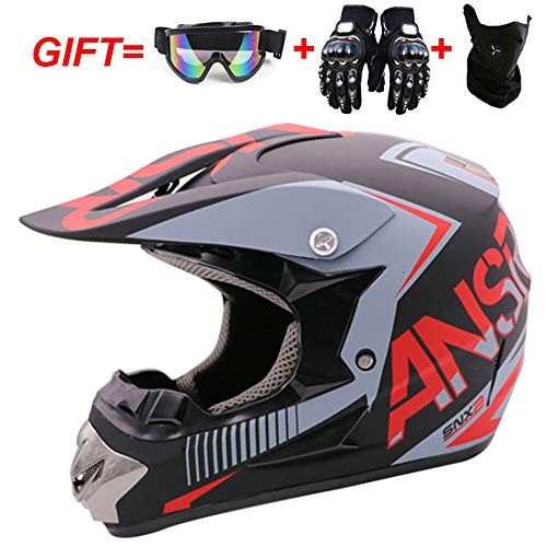 Cafcxkui Casco da Motocross Moda per Adulti,Casco Integrale Cross Country Kart ATV per Moto da...