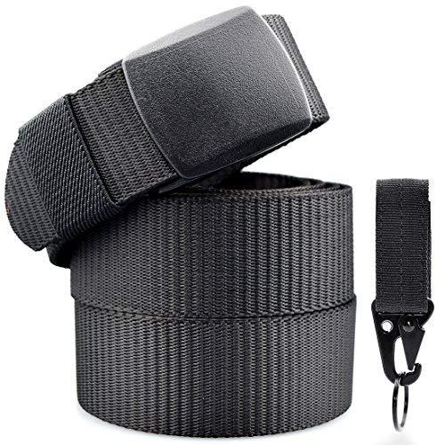 Cinturón Nylon Hombre Militar Táctico Policia Negro Unisex Cinturónes Llaveros Ocasional Correa Hombres Lona Tela Velcro Molle Mosqueton Cierre Clip 130cm Largo
