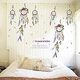 PanDaDa Capteur de Rêves Attrape Rêve Plume Stickers Muraux Créatif Imperméable Amovible Autocollants Décoratifs pour Salon Chambre