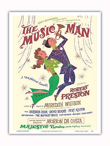 Pacifica Island Art The Music Man-con Robert Preston-Majestic Theatre di Broadway-Vintage Teatro Poster di David Klein c.1957-Master Stampa artistica-9inx12in