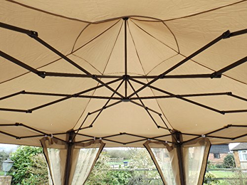 Measuring 3.6m X 3m, the six-sided gazebo possesses an overall height of 2.77m leaving enough headspace for manoeuvrability. Setting up this unit requires more than one pair of hands because the unit is a bit large. The legs of the gazebo have holes that are used to secure the unit to the ground especially when strong winds are involved. Roughly, you will take about 20 minutes to erect the structure and secure it.