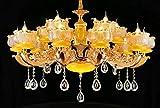 Lámpara araña LED de techo vintage colgante E14 (10+5 Luces) Cálida 3000k