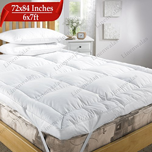 """Linenwalas Soft Comfortable Microfiber Mattress Padding/Topper for 5 Star Hotel Feel - White - California King Size - 72"""" X 84"""" *with Free Mattress Protector"""