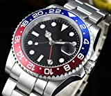 KLMWDSB GMT Automatic Movement Watch 40mm Sterile Sapphire Crystal Dial Red/Blue Stainless Steel Bezel Strap