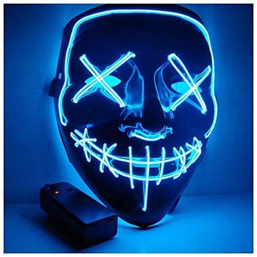 GHONLZIN LED Masken, Halloween Maske LED Glow Scary Light Up Masken für Festival Party Karneval Kostüm Weihnachten (Blue)
