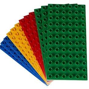 Big Briks - Pack de 12 Bases para Construir - Compatible con Todas Las Grandes Marcas - Tacos Grandes - 19,05 x 9,53 cm - Amarillo