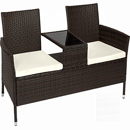 TecTake Divano da giardino divanetto tavolino da giardino in polyrattan + cuscini - disponibile in diversi colori - (Nero-Marrone | No. 401548)