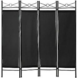 TecTake 4tlg Raumteiler Trennwand Paravent spanische Wand 180x160cm - diverse Farben und Mengen - (1x Schwarz | Nr. 401662)