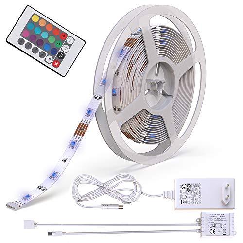Striscia a LED rgb dimmerabile I lunghezza 5000 mm I interruttore con telecomando I illuminazione...