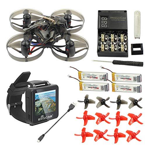 HAPPYMODEL Mobula7 75mm Crazybee F3 PRO OSD 2S Whoop FPV Racing Drone con Fotocamera 700TVL BNF con BOSCAM BOS200RC FPV Watch (Frsky Non-EU, Standard Version)