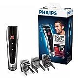 Philips HC7460/15 - Cortapelos con cuchillas de acero inoxidable, 3 peines-guía motorizados, con botones de control, batería, Gris/Negro