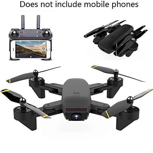 YMXLJJ RC Drone E Telecamera WIFI FPV Quadcopter Con 200 W HD Dual Camera Live Video 2.4 Ghz 4 CH Giroscopio A 6 Assi Flessione Ottica Per Posizionamento, Gesto Fotografico Nero