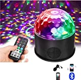 Disco lights Party Ball Projector 9W 9 Colors RGB Sound Activated Crystal Magic Ball Lamp with Bluetooth Speaker USB Charging Wireless Phone Connection Remote Control for Kids Party Halloween