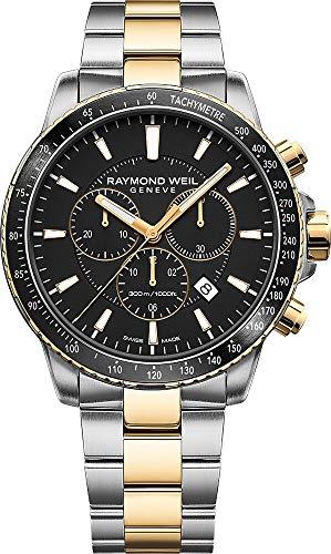 Raymond Weil orologio al quarzo, PVD oro, nero, 43mm, cronografo