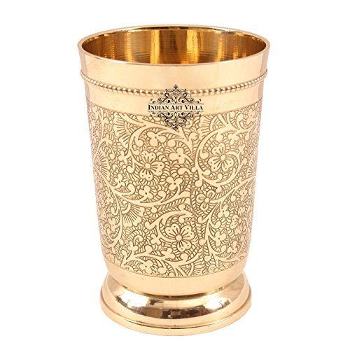 Indian Art Villa Brass Embossed Glass Tumbler, 330ml (Gold)