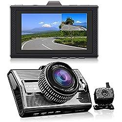 Doble Cámara Delantera y Trasera del Coche 1080p Full HD Camara Frontal y Trasera 170 ° de Angulo Ancho 140 ° Night Vision ADAS G-Sensor de Apoyo de 128GB