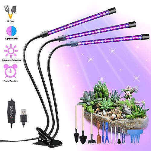 Lampada Piante Coltivazione, Yokunat 60 LED 27W Luci per Crescita Grow Light con 15 Attrezzi da...