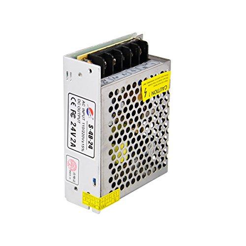 LEORX Fuente de Alimentación de 24V 2A Adaptador Para luz LED CCTV Cámara de Seguridad