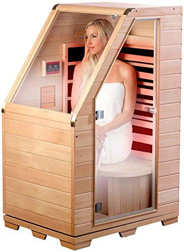 newgen medicals Sitzsauna für Zuhause: Kompakte Infrarot-Sitzsauna aus Hemlock-Holz, 760 W, 0,62 m² (Infrarot Sauna)
