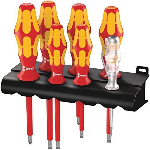 Wera Schraubendrehersatz 160 i/7 Rack Kraftform Plus + Spannungsprüfer + Rack, 7-teilig, 05006147001