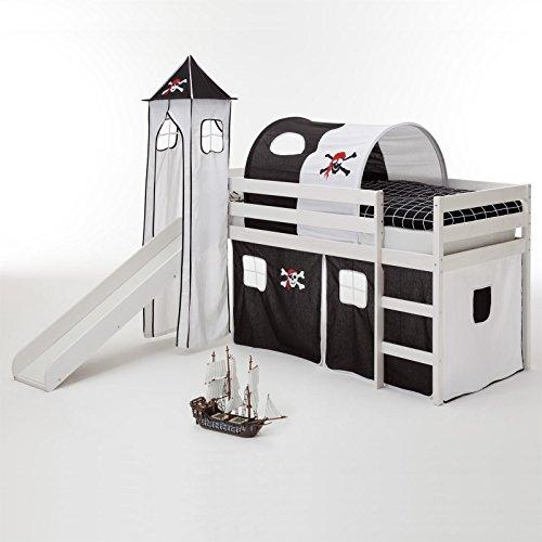 IDIMEX Rutschbett Hochbett Spielbett Bett Benny Kiefer massiv Weiss mit Turm+Vorhang+Tunnel Pirat 90 x 200 cm (B x L) mit Rutsche