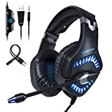 ONIKUMA Gaming Headset K1 Pro PS4 Headset 3.5mm Stereo Sound PS4 Headphones with LED Light Noise Reduction Mic xbox one Headset with Mic for Laptop PC Mac Computer Smartphone?Blue?