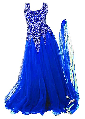 Sky World Girl's Soft Net Embroidered Royal Blue Gown For Girls (6-12 Yrs) (World_559)