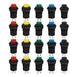 Larcele 20x 12mm Pulsante di Ritorno Automatico Momentaneo Plastica DIY Push Button ANKG-03 (5 Colori)