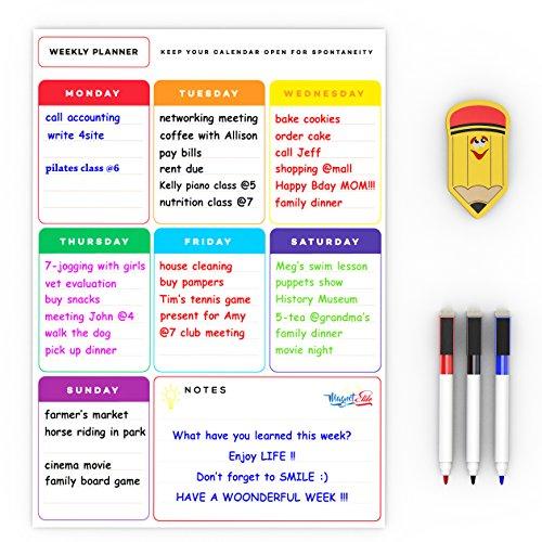 Lavagna magnetica Settimanale per i Messaggi e Promemoria - Frigorifero Magnetico Planner Calendar -...
