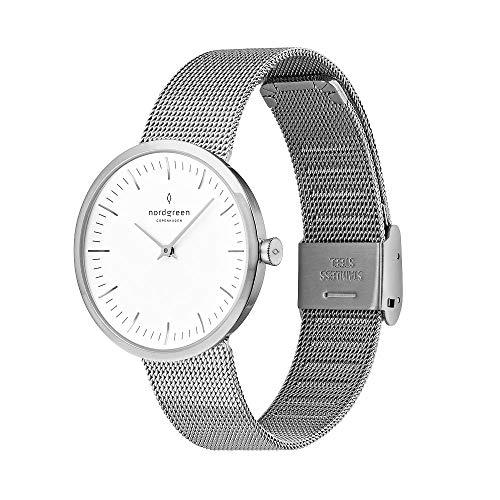 Nordgreen Infinity Skandinavische Klassische Uhr Unisex in Silber Analog Quarzwerk 40mm (L) mit Mesh Armband in Silber 10084