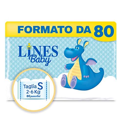 Lines Baby Small, Confezione da 80 Pannolini, Taglia 1-2 (2-6 Kg)