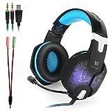 KOTION EACH G1000 3.5mm PC Cuffia Stereo Gaming con in-line Mic Over-ear con l'isolamento del rumore LED Light per PC Laptop (nero + blu)