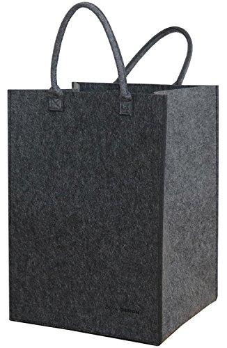 dunedesign 100L Filz Wäschesammler 43x38x60cm XXL Universal-Filz-Tasche Faltbarer Wäschekorb Großer Spielzeug-Korb Grau