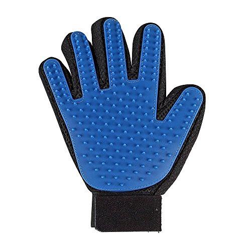 Hommii guanto 2in 1in gomma per rimuovere i peli degli animali domestici, colore blu