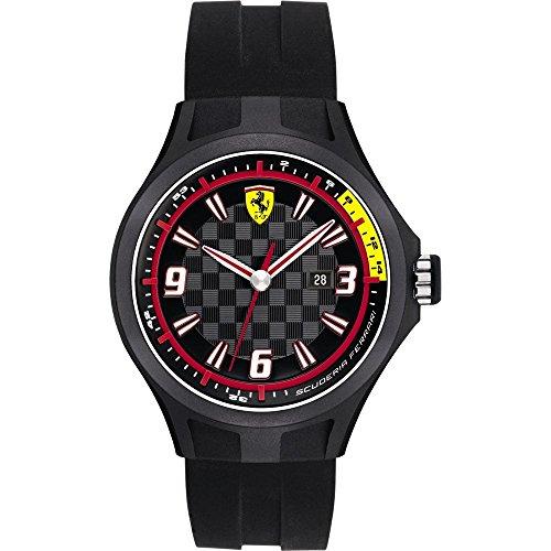 Orologio da uomo con cinturino in silicone nero, Scuderia Ferrari 0830005